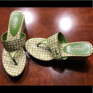 Coach flip flops size 5 1/2 never worn